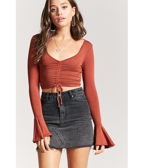 Imbracaminte Femei Forever21 Ruched Drawstring Crop Top RUST