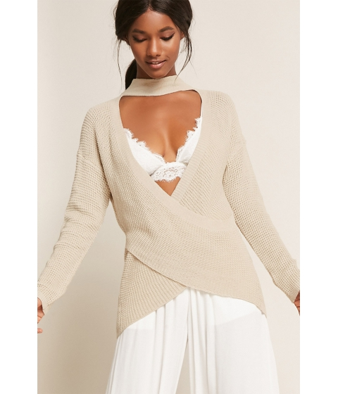 Imbracaminte Femei Forever21 Sweater-Knit Wrap Top OATMEAL