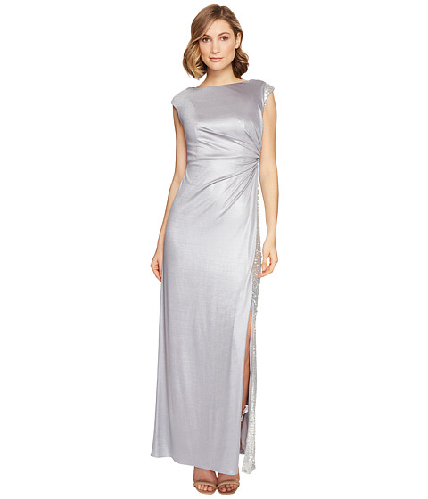 Imbracaminte Femei Adrianna Papell Jersey Draped Sequin Inset Gown Silver