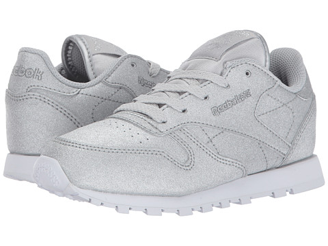 Incaltaminte Fete Reebok Classic Glitter (Little Kid) DiamondSilver MetallicSnow Grey White