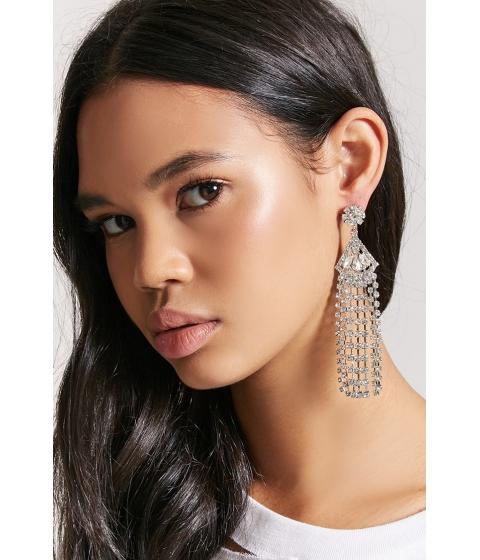 Bijuterii Femei Forever21 Rhinestone Geo Duster Earrings SILVERCLEAR