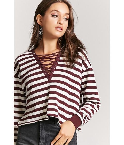 Imbracaminte Femei Forever21 Lace-Up Striped Top PLUMCREAM