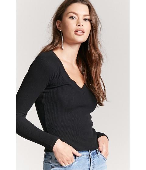 Imbracaminte Femei Forever21 V-Neck Raglan Thermal Top BLACK