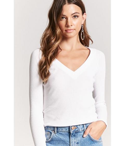 Imbracaminte Femei Forever21 V-Neck Raglan Thermal Top WHITE