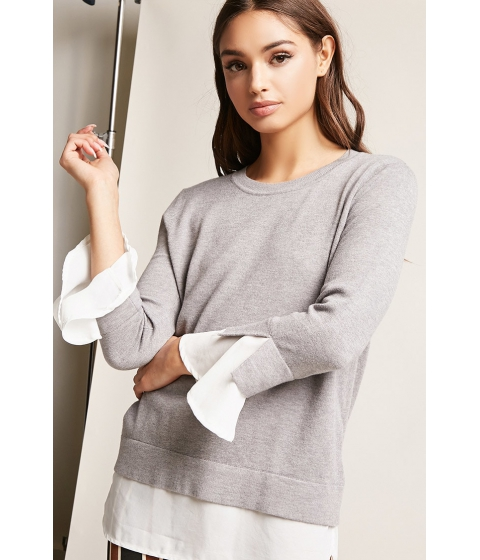 Imbracaminte Femei Forever21 Contrast Flare-Sleeve Top GREY