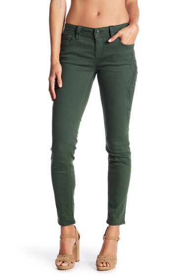 Imbracaminte Femei Miss Me Embroidered Mid Rise Skinny Jeans HUNTER GREEN