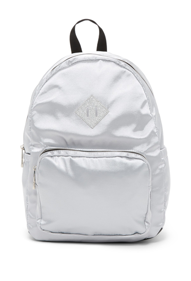 Genti Femei Madden Girl Satin Backpack with Glitter Decal SILVER