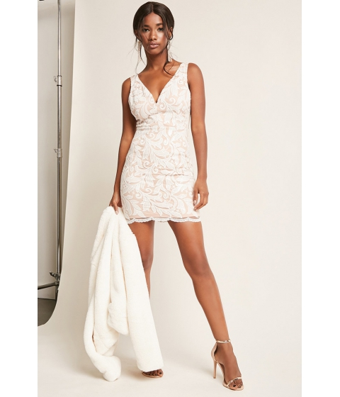 Imbracaminte Femei Forever21 Embroidered Mesh Sequin Dress NUDEWHITE
