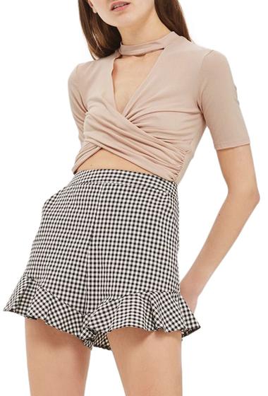 Imbracaminte Femei TOPSHOP Choker Twist Crop Top Regular Petite NUDE