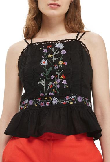 Imbracaminte Femei TOPSHOP Embroidered Peplum Top BLACK