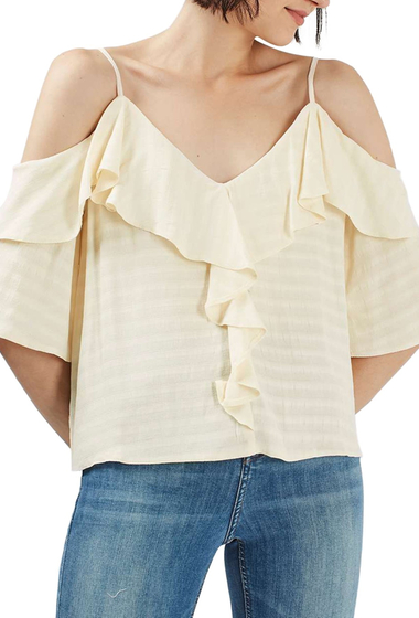 Imbracaminte Femei TOPSHOP Ruffle Off-the-Shoulder Top IVORY