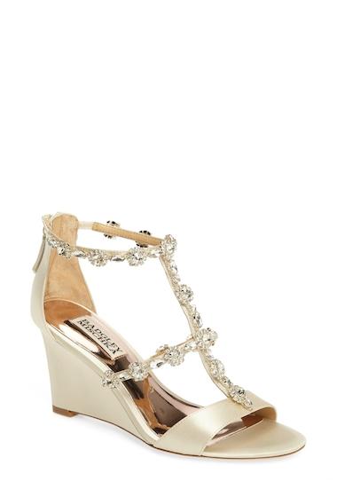 Incaltaminte Femei Badgley Mischka Tabby Embellished Wedge Sandal IVORY SATN