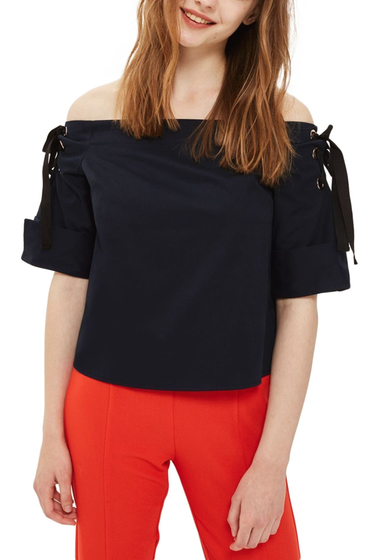 Imbracaminte Femei TOPSHOP Lace-Up Off the Shoulder Top NAVY BLUE