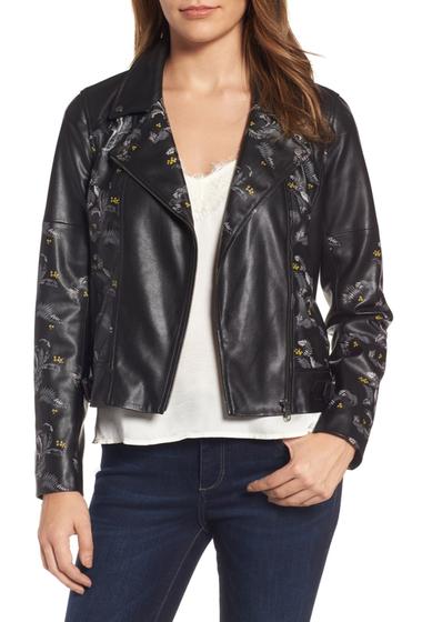 Imbracaminte Femei Chelsea28 Print Faux Leather Jacket BLACK NOCTURNAL GARDEN