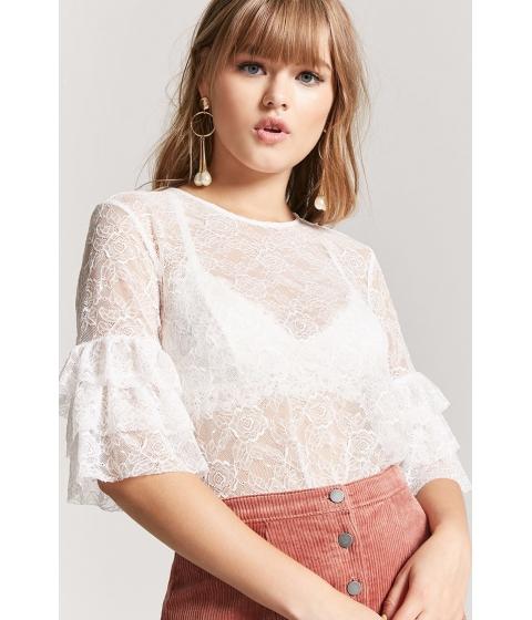 Imbracaminte Femei Forever21 Sheer Lace Ruffle Top CREAM