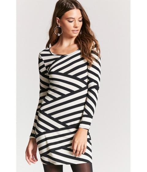 Imbracaminte Femei Forever21 Semi-Sheer Asymmetrical Striped Dress BLACKCREAM