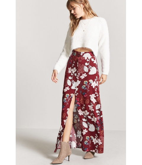 Imbracaminte Femei Forever21 Floral Maxi Skirt WINEIVORY