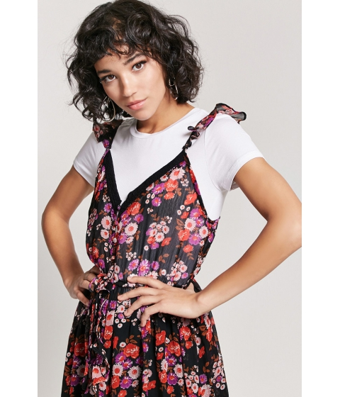 Imbracaminte Femei Forever21 Sheer Floral High-Low Dress BLACKPINK