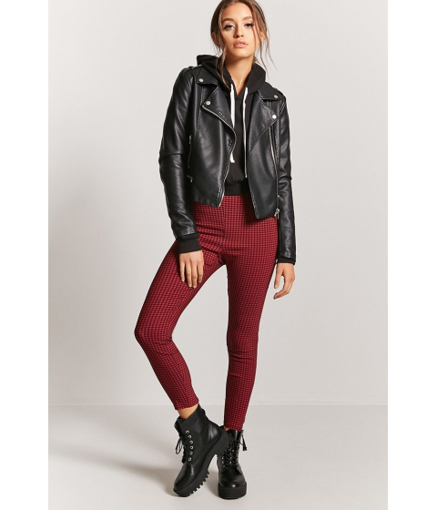 Imbracaminte Femei Forever21 Gingham Ankle Pants REDBLACK