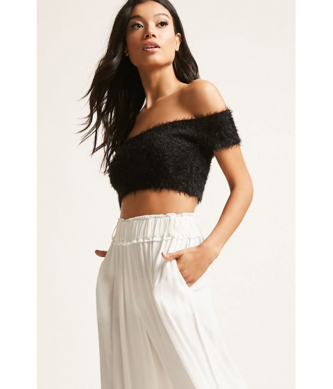 Imbracaminte Femei Forever21 Fuzzy Off-the-Shoulder Crop Top BLACK