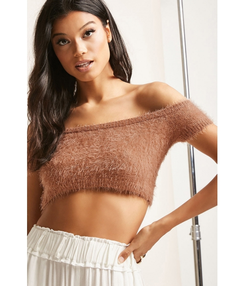 Imbracaminte Femei Forever21 Fuzzy Off-the-Shoulder Crop Top TAUPEASH