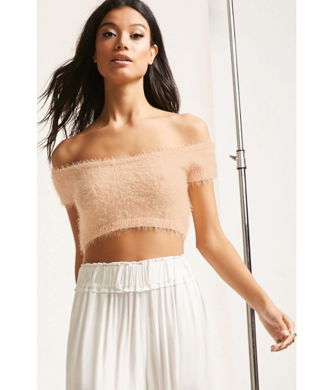 Imbracaminte Femei Forever21 Fuzzy Off-the-Shoulder Crop Top IVORY