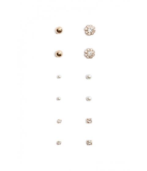 Bijuterii Femei Forever21 Rhinestone Faux Pearl Stud Earring Set GOLDCLEAR