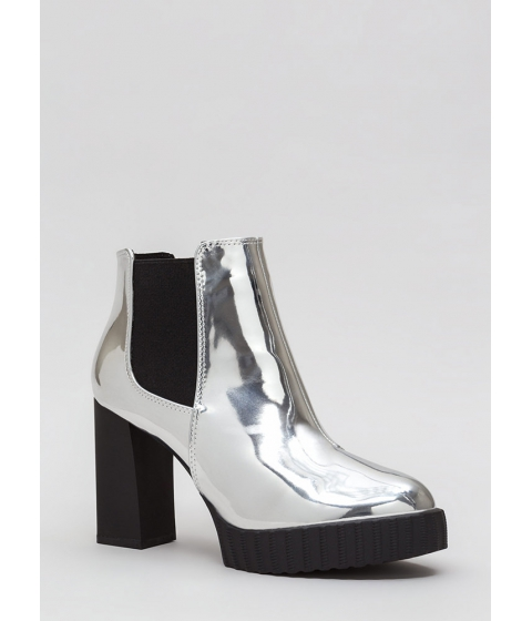 Incaltaminte Femei CheapChic Self-reflect Chunky Faux Patent Booties Silver