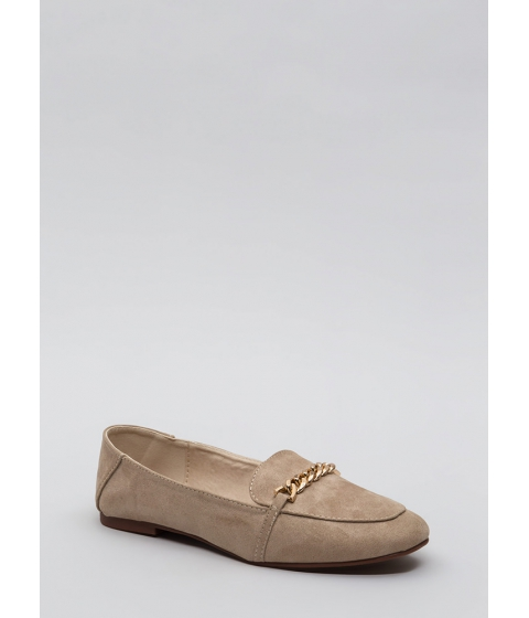 Incaltaminte Femei CheapChic Form A Chain Faux Suede Loafer Flats Lttaupe