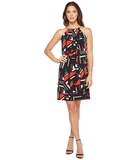 Imbracaminte Femei Calvin Klein Printed Halter Dress with Chain Neck BlackLatte Combo