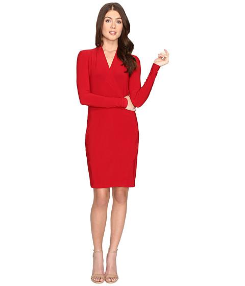 Imbracaminte Femei KAMALIKULTURE Long Sleeve Modern Side Drape Dress To Knee Red