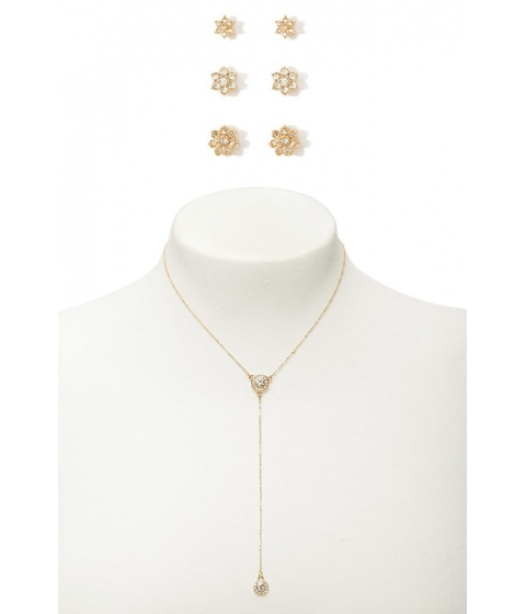 Bijuterii Femei Forever21 Flower Studs Drop Chain Necklace Set GOLDCLEAR