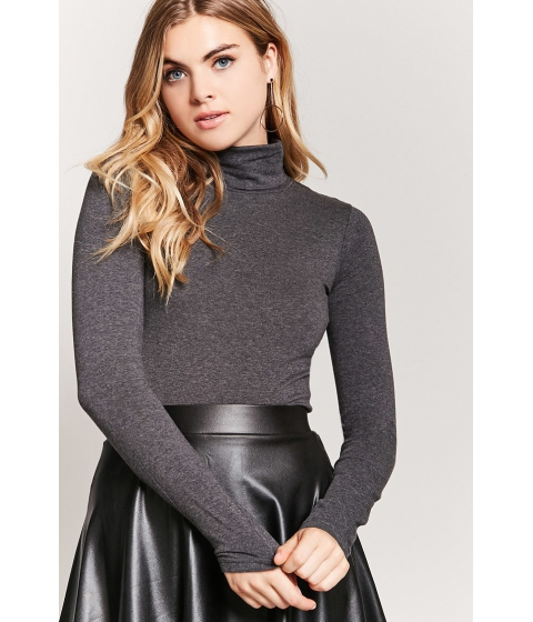 Imbracaminte Femei Forever21 Turtleneck Long-Sleeve Top CHARCOAL