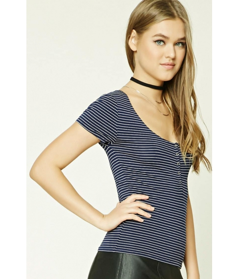 Imbracaminte Femei Forever21 Striped Henley Top NAVYCREAM