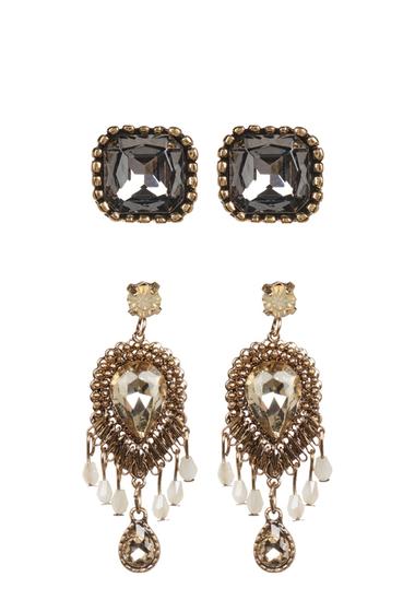 Bijuterii Femei Free Press Crystal Chandelier Stud Earrings - Set of 2 GOLD MULTI-BLK DIAMOND-GOLD