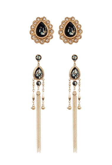 Bijuterii Femei Free Press Global Tassel Dangle Stud Earrings - Set of 2 BLACK MULTI-CLEAR-GOLD