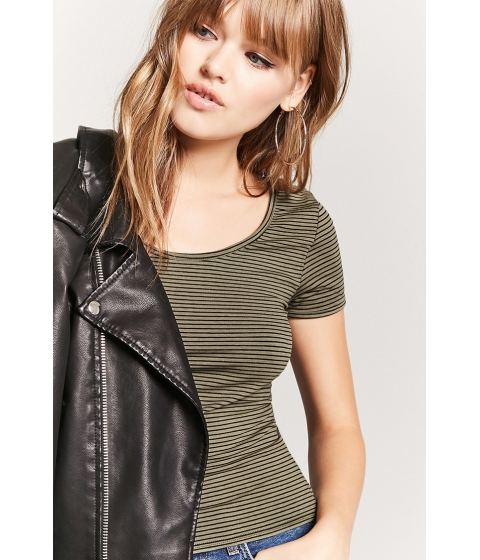 Imbracaminte Femei Forever21 Striped Scoop Neck Tee OLIVEBLACK