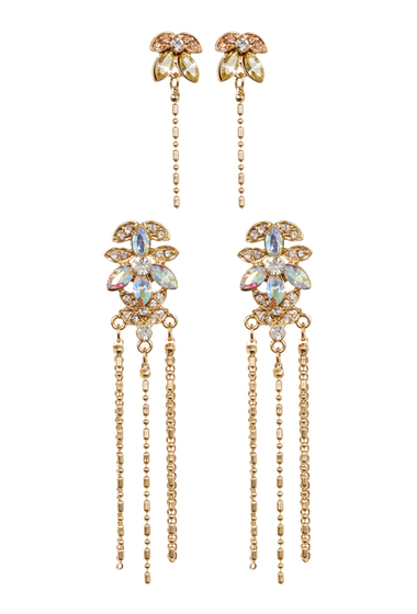 Bijuterii Femei Free Press Shot Bead Linear Drop Earrings - Set of 2 AB-CLEAR MULTI-GOLD