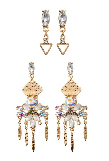 Bijuterii Femei Free Press Triangle Fringe Drop Earrings - Set of 2 CLEAR-AB MULTI-GOLD