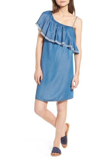 Imbracaminte Femei Splendid Fringe One-Shoulder Shift Dress MED WASH