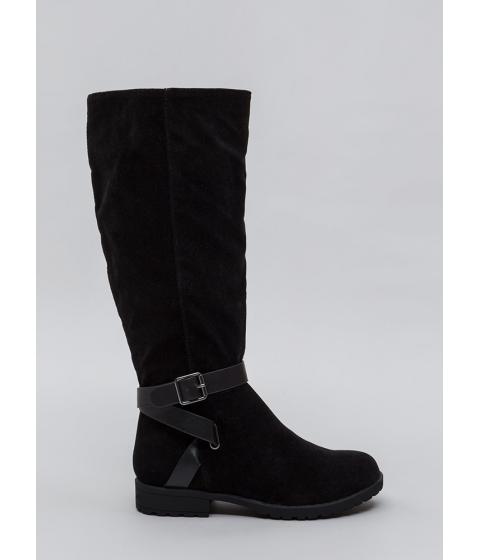 Incaltaminte Femei CheapChic All Strapped In Lug Sole Riding Boots Black