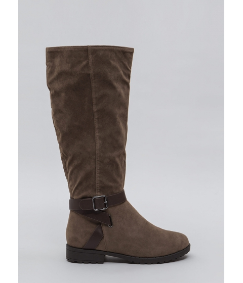 Incaltaminte Femei CheapChic All Strapped In Lug Sole Riding Boots Taupe