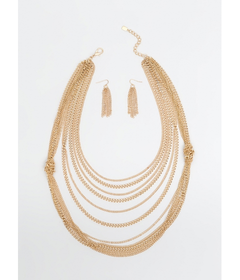 Bijuterii Femei CheapChic Knot Two Bad Draped Chain Necklace Set Gold