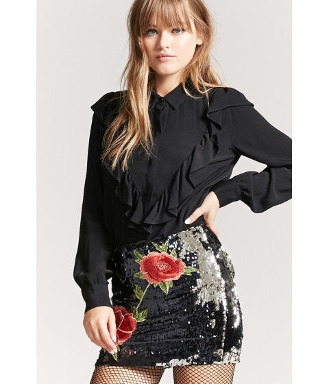 Imbracaminte Femei Forever21 Floral Sequin Mini Skirt BLACKSILVER