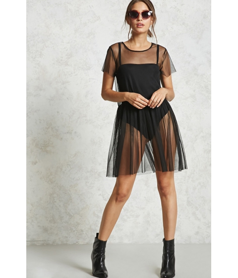 Imbracaminte Femei Forever21 Sheer Mesh Cinched Hem Dress BLACK