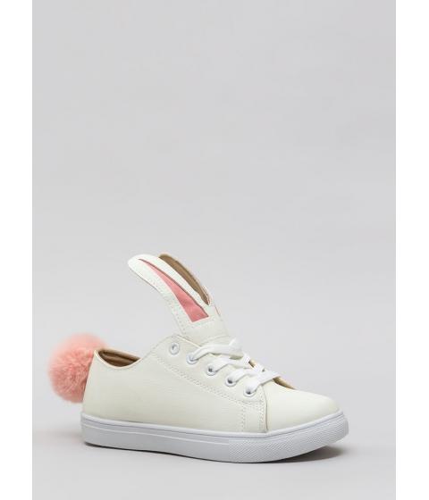 Incaltaminte Femei CheapChic Bunny Business Pom-pom Sneakers White