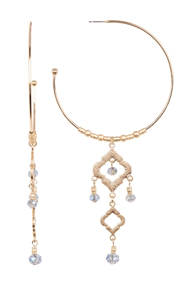 Bijuterii Femei Spring Street Charm Drop Open Hoop Earrings GOLD