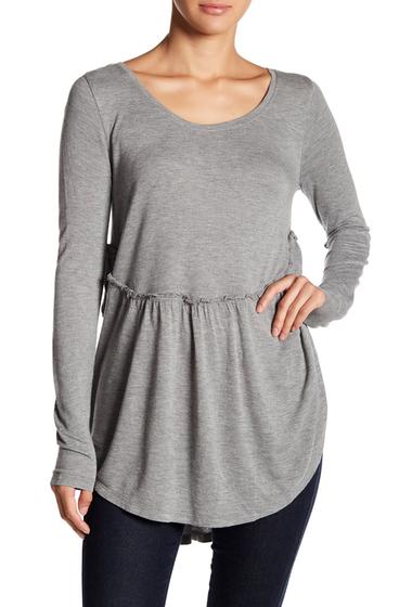 Imbracaminte Femei Melrose and Market Long Sleeve Peplum Top Petite Size Available GREY CLOUDY HEATHER