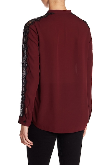 Imbracaminte Femei The Kooples Lace Detail Crepe Shirt RED60