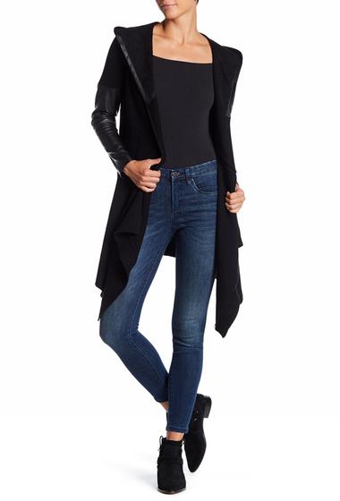 Imbracaminte Femei BLANKNYC Denim Faux Leather Trim Long Hooded Jacket BLACK